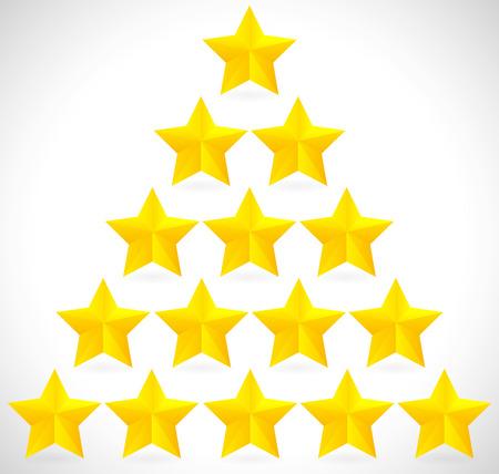 Gouden sterren in de driehoek, piramidale vorming Stock Illustratie