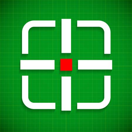 marksmanship: Crosshair, target over green gridded background Illustration