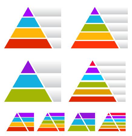piramide alimenticia: Triángulo, cartas piramidales con las banderas