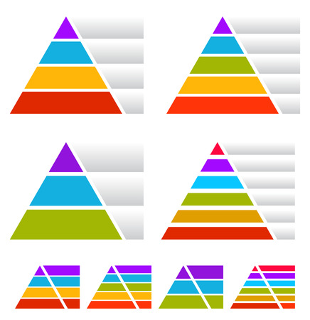 Triangle, pyramid charts with banners