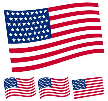 continente americano: Bandera de los Estados Unidos. vectorial editable