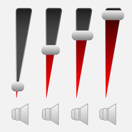 Vetical colume control UI elements. Adjust opacity mask to set level Illustration