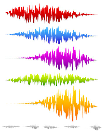 Colorful sound waves, waveforms Vector