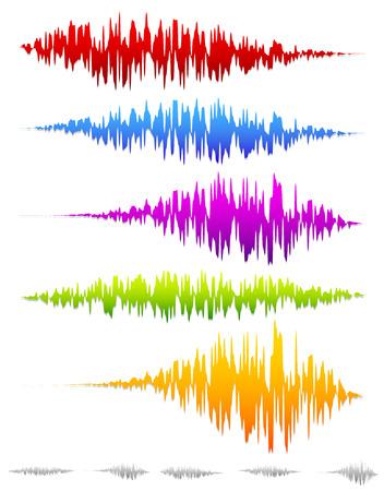 Colorful sound waves, waveforms Vector