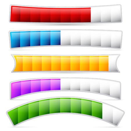 Stylish loading bars, meters, benchmark or level indicator elements. vector.