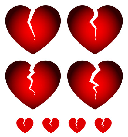 rupture: Broken hearts. Dislike, sadness, shattered hearts, rupture, break up themes. Vector hearts