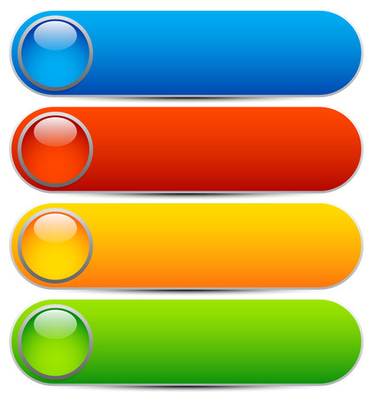 blue button: Glossy buttons, banners. Rounded rectangle shapes. Colorful vector design elements. Blank buttons. Bright vector template, webdesign element