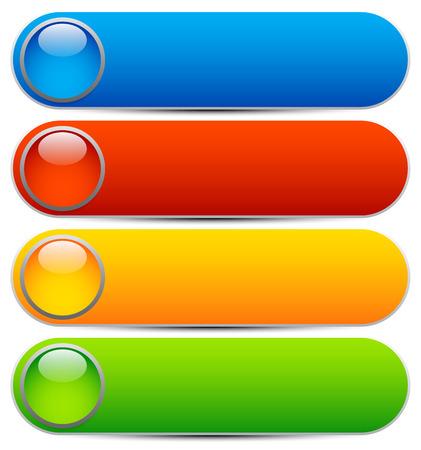 Glossy buttons, bannières. Formes de rectangle arrondi. Colorful vecteur éléments de design. Boutons vierges. Template vecteur lumineux, élément webdesign Vecteurs
