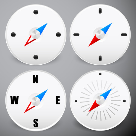 positioning: Compass icon. Dial vector. Needle on dial. Positioning, navigation vector. Illustration