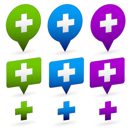 navigation aid: Plus, positivite, health-care, first aid icons. Vector set. Plus, addition signs, symbols. First aid crosses.