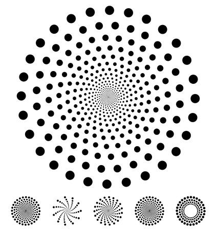 circulos concentricos: El modelo de puntos. Elementos del vector de los círculos. Elementos de diseño vectorial, símbolos de puntos circulares, motivos