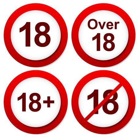 赤の年齢制限に署名します。以上 18 標識  イラスト・ベクター素材