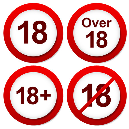 Red age restriction signs. Over 18 signs