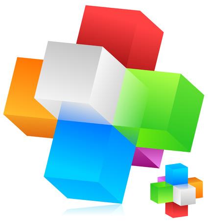 Cubes vector. Blocks forming a geometrical structure. Colorful, trendy design element, emblem. Vector