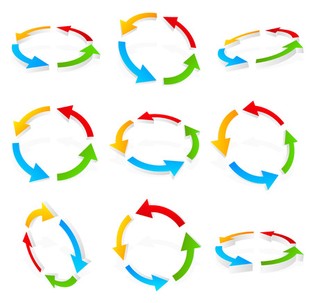 recurrence: Colorful circular arrows Illustration