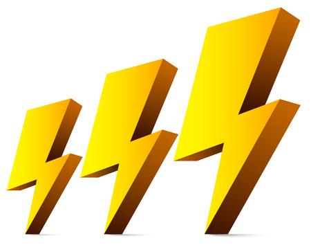 3d Thunderbolts, donderslagen, glitters, elektriciteit symbolen Stock Illustratie