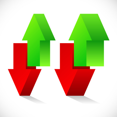 share prices: Up down arrow concept. Exchange, raise, lower, stock exchange
