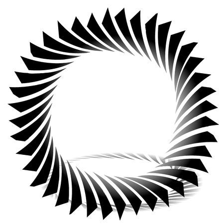 twisting: Circular, edgy shape. Twisting element. Illustration
