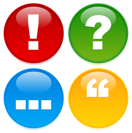 punctuation mark: Icono de marca puntuacion elegantes con leve resplandor. Signo de exclamaci�n, signo de interrogaci�n, elipses, y cita s�mbolos en c�rculos de colores