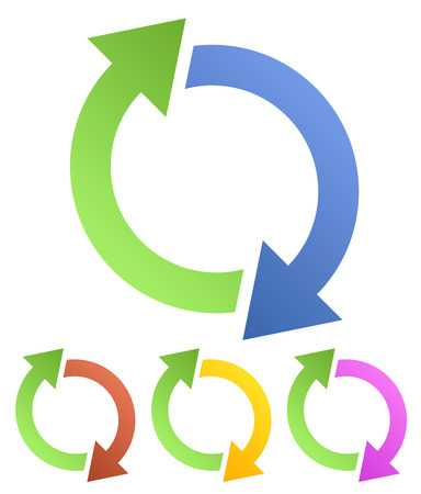 recurrence: Circular, looped, rotating arrows for spin, twist, rotation, exchange, sync, reverse concepts.