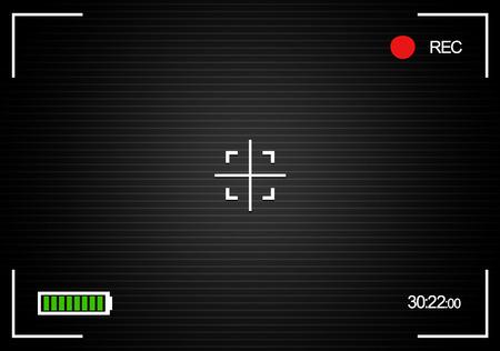 """rec: Fotocamera stilizzato, """"rec"""" fondo con indicatore di batteria e contro"""