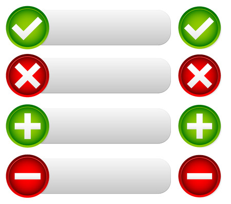 Checkmark and cross buttons and banners with space for text Vector
