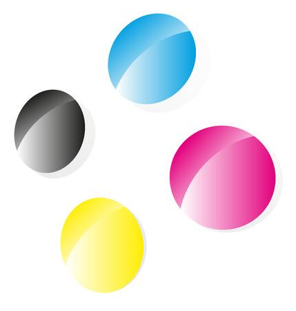 prepress: Cmyk emblema para preimpresi�n, imprenta, prensa, temas de impresi�n