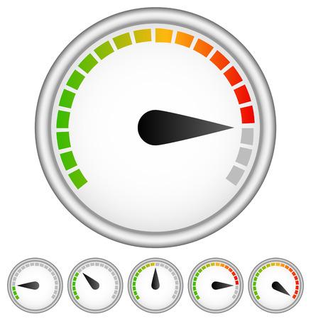 benchmarking: Dial, gauge templates. Measuring, indication, benchmarking element Illustration