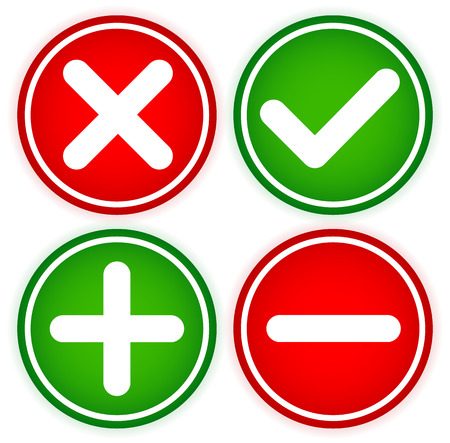 green cross: Checkmark and cross