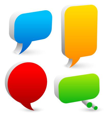 balon: Bright speech and thought bubble set - 3d speech, talk bubbles