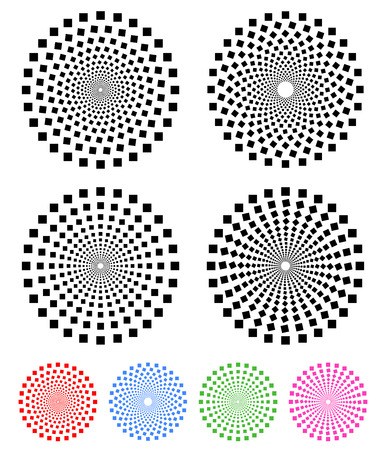 concentric: Concentric compositions of squares. Colored and uncolored versions