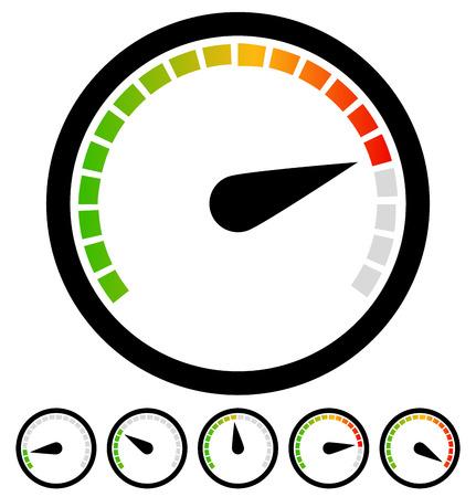 accelerating: Dial, gauge templates. Measuring, indication, benchmarking element Illustration