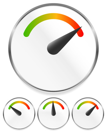 Dial, gauge templates. Measuring, indication, benchmarking element Illustration
