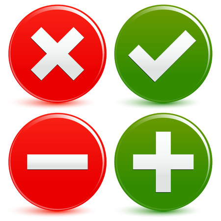 Stylish checkmark, cross and plus minus signs