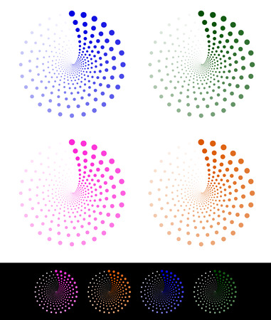 concentric circles: Stylish dotted design elements, motifs