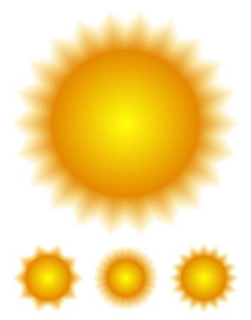 solarium: Set of stylish sun graphics Illustration