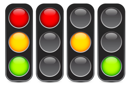 green and red: Traffic light signal illustration.
