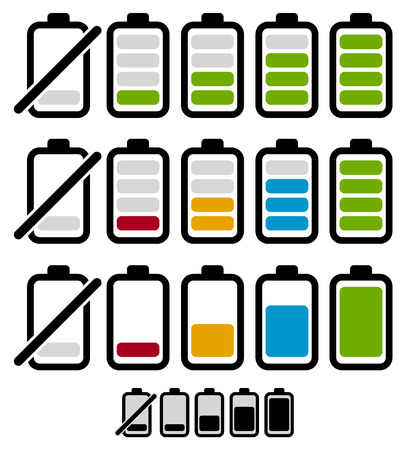 Battery level or life indicator set. Segmented and bar style versions. Monochrome version included.