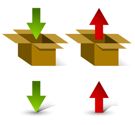 incoming: 3d boxes with up and down arrows and Isolated arrows with own, unique shadows. Upload, download or logistics, packaging, export, import concepts. (Swap or change colors easily on the arrows.)