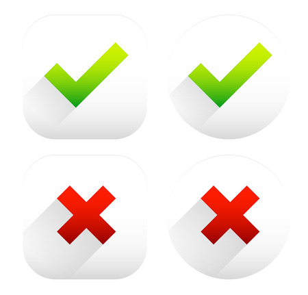 excluded: Stylish checkmark and cross set with green, red and grey colors - For Correct, incorrect, aggree, disaggree, right, wrong and include(d), exclude(d) concepts Illustration
