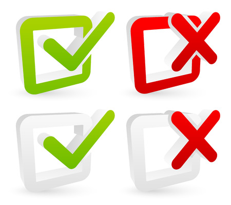 Stylish checkmark and cross set with green, red and grey colors - For Correct, incorrect, aggree, disaggree, right, wrong and include(d), exclude(d) concepts Illustration
