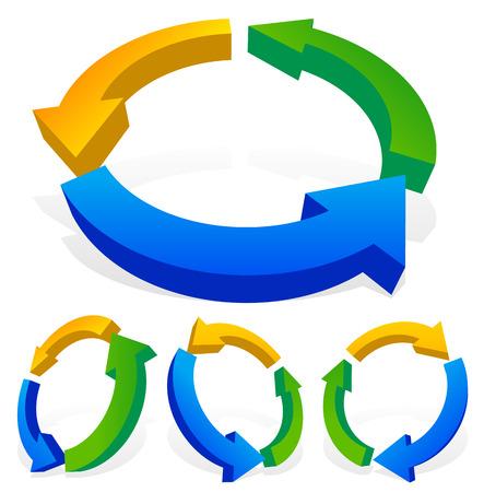 cíclico: Negrita flechas multicolor 3d. Ciclo, el lazo, el proceso, la circulación, conceptos cíclicos. 4 versiones giran en ángulos diferentes.