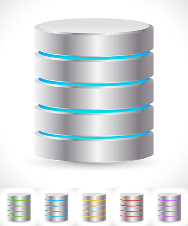 Abstract HDD cylinders with lively colors. Technology, file or web storage, hosting, server, mainframe or super computer, archive, backup conceptsicons.