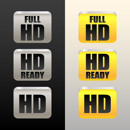 HD - High definition - tags, labels or icons, buttons. Hd, Full HD and HD Ready