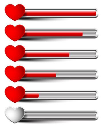 Rating elements with hearts - Liking, satisfaction, grading, dissatisfaction, bad experience, ~customer~ feedback or stamina, health points (computer gaming) concepts #2 bar version