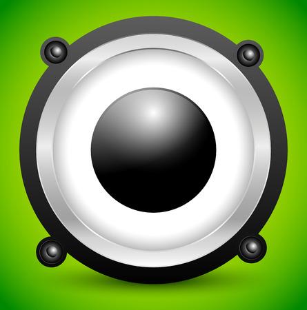 hi fi: Speaker vector over soft green background.