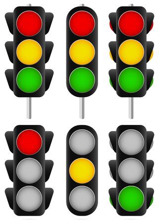 3 differenti set semaforo. Isolato e versioni con pali / lampade stradali, semafori, verde, rosso, giallo e stop / Vettoriali