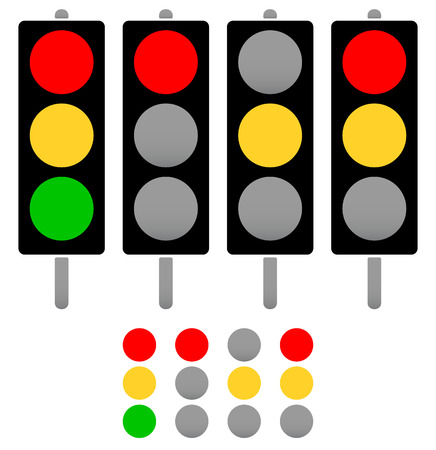 Set of cute, rounded silhouettes of traffic lamps, traffic lights
