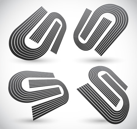 unify: Set of U shapes fitted together. Symbolic graphics for integration, convergence, unity, merging concepts or generic symbols for identity