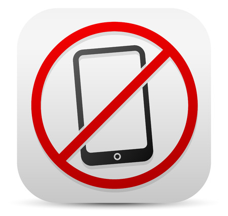 phone ban: Smartphone and probitive sign. Turn off cellphones, mobile phone ban, no electronic devices concepts
